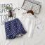 ชุดเซ็ทสาวน้อย เสื้อมาพร้อมกระโปรงสีน้ำเงินลายจุดสีขาว ใส่แล้วดูเก๋น่ารักมากๆเลยค่ะ thumbnail 5