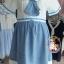 ชุดคลุมท้องสไตล์ญี่ปุ่นเสื้อสีขาวกระโปรงสีฟ้าเป็นชุดต่อกันค่ะ น่ารักมากค่ะชุดนี้ thumbnail 2
