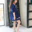 เดรสสาวน้อยสีน้ำเงินแขนยาว แต่งรูปดอกไม้ ปกคอสีส้มตัดกับตัวเสื้อ งานสวยมากน่ารักสุดๆค่ะ thumbnail 4