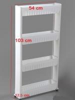SECEN ชั้นวางของในที่แคบมีล้อเลื่อน วางไว้ในครัว วางไว้ในห้องน้ำ-4ชั้น (สีขาว)