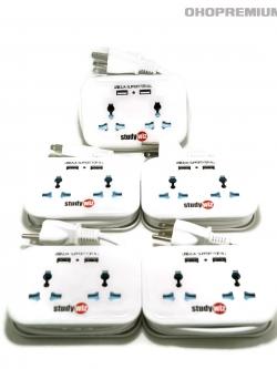 ปลั๊กไฟพกพา ขนาดกระทัดรัด 2 ช่อง 2 USB (2.1A แชร์) มีระบบกันไฟกระชาก