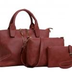 กระเป๋า PU set 3 ใบ (สีแดง)