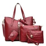 กระเป๋า PU set 4 ใบ (สีแดง)