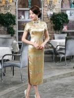 Pre-order กี่เพ้า สีทอง ลายมังกร ผ้าไหมจีน กุ๊นขอบ ตัดเย็บอย่างดี