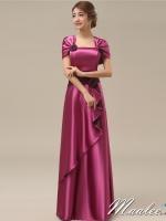 พร้อมเช่า ชุดราตรียาว สีม่วง ปิดไหล่ แต่งดอกกุหลาบจับจีบสวย ผ้าซาติน (L-5XL) *เหลือเฉพาะไซส์ L*