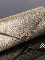 พร้อมส่ง Evening Clutch กระเป๋าออกงาน สีทอง ใบใหญ่ใส่ของได้จุใจ ปุ่มเปิด/ปิด แบบหมุนล็อค มาพร้อมสายสะพายยาว
