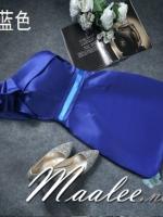 พร้อมเช่า ชุดราตรีสั้น ไหล่เดียว แต่งจีบระบายไหล่ขวา ผ้าซาตินเงา เรียบหรู (ซิปข้าง) สีน้ำเงิน