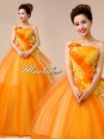 Pre-order ชุดแฟนซี ชุดราตรียาว สีส้มแต่งระบายสีเหลือง
