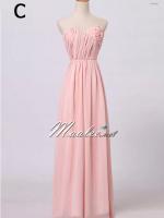 พร้อมเช่า ชุดราตรียาว สีชมพูอ่อน ชุดเพื่อนเจ้าสาว Pink-002C