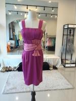ล้างสต๊อก ชุดราตรี mini dress (สินค้าตัวโชว์ มือหนึ่ง) สีเม็ดมะปราง คาดเอวเก๋ๆ จับจีบช่วงอก