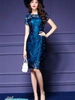 Pre-order ชุดเดรส/ชุดออกงาน ผ้าเกาหลี ผ้าโปร่งปักแขนสั้นลายดอกไม้ สีนำเงิน (ซิปหลัง)