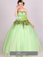 Pre-order / เช่า ชุดแฟนซี ชุดราตรียาว สีเขียว Melon ผ้าลูกไม้ แต่งดอกไม้ช่วงเอว