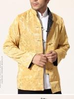 Pre-order ชุดจีน ชาย เสื้อผ้าแพร สีทอง / ดำ ใส่ได้สองด้าน