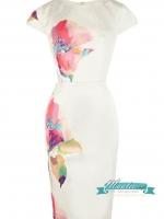 Pre-order ชุดเดรส สีขาว ผ้าซาติน พิมพ์ลายดอกไม้สไตล์สีน้ำ ใส่ออกงาน ทำงานได้