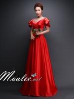 พร้อมเช่า สำหรับสาวไซส์ใหญ่ ชุดราตรียาว แบบแขนสั้น ผ้าซาตินสวยสง่า อกจับจีบปักเลื่อมช่วงอก-เอว สีแดง (เชือกผูกหลัง)