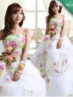 พร้อมเช่า ชุดแฟนซี ชุดราตรี เกาะอก สีขาว แต่งผ้าลายดอก สีสวยหวาน แบบ Shabby Chic