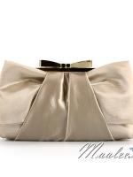 พร้อมส่ง Evening Clutch กระเป๋าออกงาน สีทอง แบบเรียบหรู ปุ่มปิดรูปโบว์