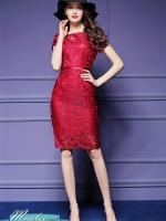 Pre-order ชุดเดรส/ชุดออกงาน ผ้าเกาหลี ผ้าโปร่งปักแขนสั้นลายดอกไม้ สีแดง (ซิปหลัง)