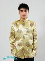 พร้อมเช่า ชุดจีน ชาย เสื้อคอจีน ผ้าไหมจีน ทอลาย สีทอง