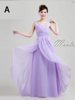 พร้อมเช่า ชุดราตรียาว แขนกุด ชุดเพื่อนเจ้าสาว สีม่วงอ่อน Lavender Lv-002A