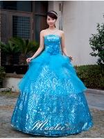 Pre-order / เช่า ชุดแฟนซี ชุดราตรียาว สีฟ้า ผ้าปักเลื่อม คลุมผ้าโปร่งจับจีบ