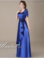 พร้อมเช่า ชุดราตรียาว สีน้ำเงิน ปิดไหล่ แต่งดอกกุหลาบจับจีบสวย ผ้าซาติน (L-5XL)