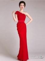 พร้อมส่ง ชุดราตรียาว ไหล่เฉียง ทรงเข้ารูปผ้าชีฟองนิ่มใส่สบายกระโปรงจับจีบย้วย ไหล่แต่งดอก สีแดง