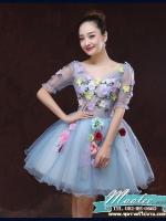 Pre-order ชุดแฟนซีสั้น สีฟ้า แขนยาว แต่งดอก Fairy สไตล์เจ้าหญิง กระโปรงพองสวยชายย้วย เชือกผูกหลัง