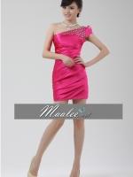 Pre-order ชุดราตรีสั้น mini dress ไหล่เฉียง สีชมพู Hot pink ปักเลื่อมช่วงไหล่ จับจีบด้านหน้า