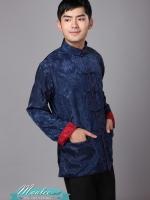 Pre-order ชุดจีน ชาย เสื้อคอจีน ผ้าแพร สีแดง / น้ำเงิน ใส่ได้สองด้าน