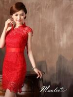ชุดยกน้ำชา ชุดจีน ชุดกี่เพ้า ลูกไม้ไหล่เดียว สีแดง แบบโมเดิร์น เช่า 400