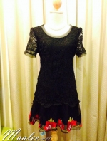 พร้อมส่ง ชุดออกงาน ชุดเดรสลูกไม้ Mini dress แขนสั้น กระโปรงผ้าแก้วปักลายหวาน ลูกไม้สีดำ (เหลือเฉพาะไซส์ M , XL)