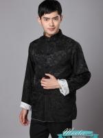 Pre-order ชุดจีน ชาย เสื้อผ้าแพร สีดำ/ ขาว ใส่ได้สองด้าน