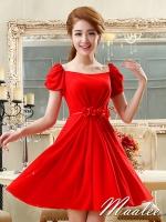 Pre-order ชุดราตรีสั้น สีแดง แขนตุ๊กตามีโบว์ ผ้าชีฟอง แบบสวยหวาน เพิ่มดอกช่วงเอว