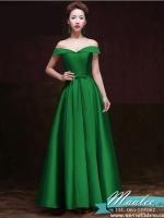 Pre-order ชุดราตรียาว แบบไหล่ปาด อกSweet heart สไตล์วินเทจผ้าไหมดัชเชส กระโปรงทรง A แต่งโบว์ ช่วงเอว (เชือกผูกหลัง) สีเขียว