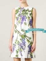 Pre-order ชุดเดรส Shift dress สีขาว พิมพ์ลายดอกไม้สวยหวาน