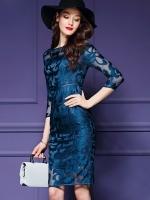 Pre-order ชุดเดรส/ชุดออกงาน ผ้าเกาหลี ผ้าโปร่งปักแขนยาวลายดอกไม้ สีนำเงิน (ซิปหลัง)