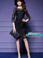 Pre-order ชุดเดรส/ชุดออกงาน ผ้าเกาหลี ผ้าโปร่งปักแขนยาวลายดอกไม้ สีดำ (ซิปหลัง)