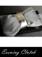 พร้อมส่ง Evening Clutch กระเป๋าออกงาน สีเงิน light silver รูปโบว์ แบบ C