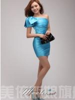 Pre-order ชุดราตรีสั้น Mini dress ไหล่เดียว สีฟ้า เข้ารูป แต่งโบว์สองชั้น