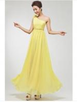 พร้อมเช่า ชุดราตรียาว ไหล่เดียว ผ้าชีฟองแต่งดอกที่ไหล่ เอวคาดเพชรสวย สีเหลือง
