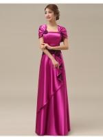 พร้อมเช่า ชุดราตรียาว สีชมพู Hot Pink ปิดไหล่ แต่งดอกกุหลาบจับจีบสวย ผ้าซาติน (L-5XL)