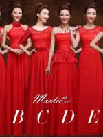 Pre-order ชุดราตรียาว ชุดเพื่อนเจ้าสาว สีแดง สวยหวานแบบคุณหนู ลูกไม้ กระโปรงผ้าชีฟอง