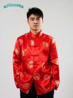พร้อมเช่า ชุดจีน ชาย เสื้อคอจีน ผ้าไหมจีน ทอลาย สีแดง - ทอง