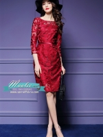 พร้อมส่ง ชุดเดรส/ชุดออกงาน ผ้าเกาหลี ผ้าโปร่งปักแขนยาวลายดอกไม้ สีแดง (ซิปหลัง)