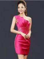 Pre-order ชุดราตรีสั้น เกาะอก ไหล่เดียว สีชมพู Hot Pink ผ้าซาตินเข้ารูป ปักเลื่อมสวยหรู