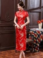 พร้อมเช่า กี่เพ้า สีแดง ลายดอกบ๊วย Cherry Blossom ผ้าไหมจีน กุ๊นขอบ ตัดเย็บอย่างดี