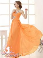 พร้อมเช่า ชุดราตรียาว ไหล่เดียว สีส้ม ผ้าชีฟอง แต่งเลื่อม+มุก ช่วงเนินอกและเอว