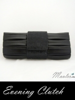 Evening Clutch กระเป๋าออกงาน สีดำ จับจีบ คาดแถบคริสตัล Acrylic ประกายสวย พร้อมสายโซ่คล้องไหล่