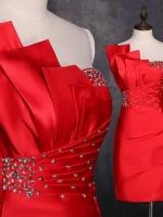 Pre-order ชุดราตรีสั้น เกาะอก ไหล่เดียว สีแดง ผ้าซาตินเข้ารูป ปักเลื่อมสวยหรู